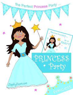 Aqua Princess Birthday Printable Party Decorations by ziggityzoom, $5.00