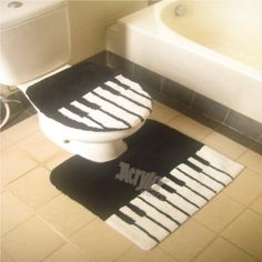 Piano keyboard toilet seat cover and loo mat - all you need now is the matching keyboard loo paper!