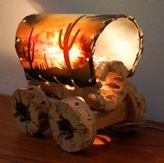 Vintage Cactus Covered Wagon Lamp Western. $32.00, via Etsy.
