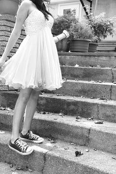 dress and converse (thumbs up)