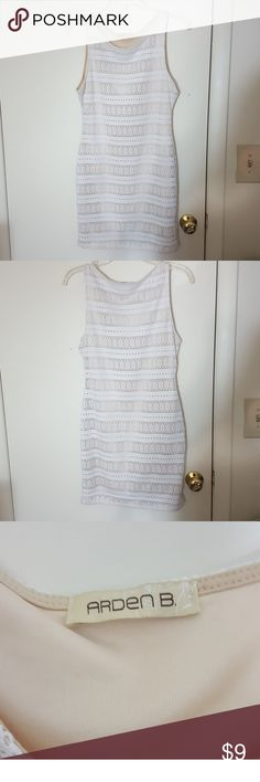 Arden B White & Tan Striped Dress Sz. M Brand: Arden B Size: M.  Color: White and Tan Style: Striped with circle design body con Lovely dress for cocktail party, party or club event. Comes from a *Non Smoking & Pet Free Home* Arden B Dresses
