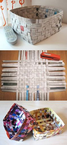 Weaving a basket with newspaper