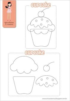 Filz Cupcakes mit Step by Step und Formen - - Felt Templates, Applique Templates, Applique Patterns, Quiet Book Templates, Quilting Templates, Felt Patterns, Craft Patterns, Sewing Patterns, Felt Diy
