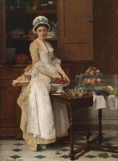 Joseph Caraud (1821-1905) - Girl with cherries