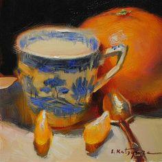 "Daily Paintworks - ""Blue and Orange"" - Original Fine Art for Sale - © Elena Katsyura Fruit Painting, Oil Painting Flowers, Painting Still Life, Still Life Art, Tea Cup Art, Tea Cups, Complex Art, Fine Art Gallery, Pottery Art"