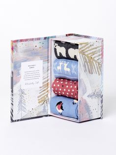 This sock gift set holds four pairs of wonderfully festive socks. Made in our super soft bamboo and organic cotton blend, these Christmas Animal socks are breathable, naturally anti-bacterial and anti-fungal, so your feet (and the planet) stay happy and h Bamboo Socks, Sustainable Gifts, Sock Animals, Stay Happy, Christmas Animals, Box, Gift Guide, Organic Cotton, Things To Come