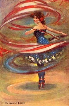 'The Spirit Of Liberty' Patriotic Ballerina vintage illustration postcard - Artist Unknown