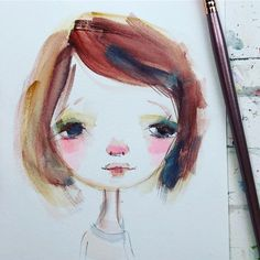 Flat brush 5 minute girl using @prima_watercolor decadent pies palette.