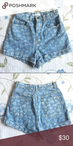 American Apparel Shorts Super cute light blue denim high waisted shorts from American Apparel with a floral print Size 27 In perfect condition! American Apparel Shorts Jean Shorts