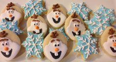 Olaf snowflake cookies~ by AllysonsCookieJar, $16.00, frozen blue