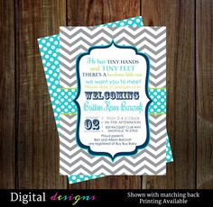 Sip and See shower invites navy blue, aqua and lime for baby shower digital printable files Gray chevron stripes with aqua blue, navy and lime