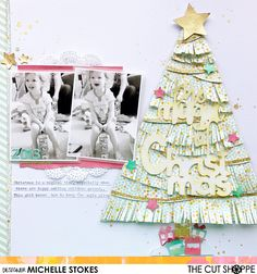 "The Cut Shoppe: The Magic of Christmas by Michelle Stokes uses the ""Christmas Magic"" and ""Tinsel Town"" cut files. Christmas Scrapbook Layouts, Scrapbook Page Layouts, Baby Scrapbook, Scrapbook Cards, Winter Christmas, Christmas Crafts, Christmas Tree, Paper Crafts, Diy Crafts"