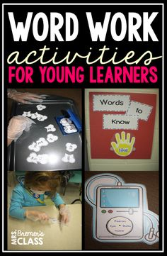Lots of Kindergarten literacy center ideas for sight words and word work. These activities for young learners use active, hands-on learning! 1st Grade Spelling, First Grade Words, First Grade Reading, Phonemic Awareness Activities, Spelling Activities, Sight Word Activities, Kindergarten Names, Kindergarten Centers, Literacy Centers