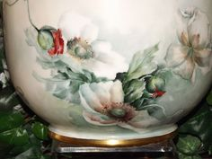 Limoges Beautiful Poppy Jardiniere with Amazing Colors from allthingslovelee on Ruby Lane