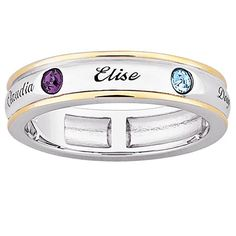 Mother's Birthstone Band in Sterling Silver and 18K Gold Plate (2-7 Names and Stones) - Zales #silver