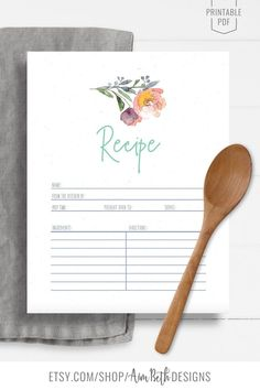 Printable Recipe Binder Kit Recipe Page and Notes - #recipebinderkit #recipekit #cookbook #recipeorganization #recipebook #cookbookorganization #printable #watercolorflorals #watercolor #flowers #diycookbook #diyrecipebook #familycookbook #familyrecipebook #cooking #baking #food #recipebinder #diy #printable #digitaldownload #recipe #printablerecipepage #printablenotespage Printable Recipe Page, Cookbook Organization, Family Recipe Book, Recipe Sheets, Recipe Cover, Recipe Binders, Baby Shower Printables, Recipe Cards, Mothers