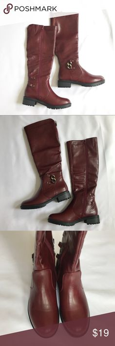 Maroon Riding Boots This maroon riding boots have a cushion interior, size zippers, and a thick rubber sole for the ultimate comfort. Brand new! No box. Eddie Mar Shoes Winter & Rain Boots