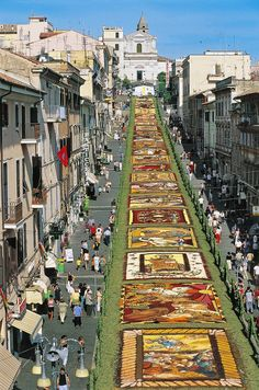 Every year since 1778, Genzano di Roma, about 20 miles southeast of Rome, hosts a massive flower festival. An elaborate blooming carpet arranged in detailed designs covers Via Italo Belardi in the center of the town, drawing thousands of spectators. This year's festival will take place May 28 to 30. comune.genzanodiroma.roma.it CHERIE