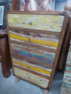 Bali Furniture Recycled Boat Timber Retro Oval 5 Chest Drawers Tall Boy Dresser
