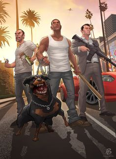 GTA V Comic Illustration by Patrick Brown Patrick Brown, Videogames, Grand Theft Auto Series, Gta 4, Foto Top, Gta 5 Online, Brown Art, Rockstar Games, San Andreas