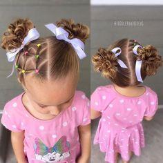 Web of elastics messy buns - toddler hair ideas