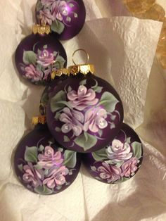 Hand painted Roses on round purple ornament small Painted Christmas Ornaments, Hand Painted Ornaments, Handmade Ornaments, Christmas Bulbs, Christmas Crafts, Christmas Decorations, Table Decorations, Purple Christmas, Christmas Makes