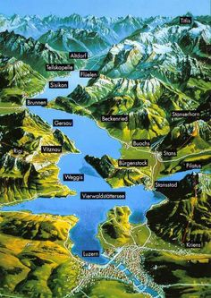 ღღ Map of Vierwaldstättersee and its beautiful destinations (Lucerne Switzerland)