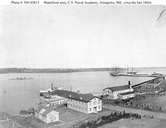 US Naval Academy... (USNA grounds with barracks/school) circa the late 1860s... Two ships (seen in background) are the USS Santee & USS Constitution...