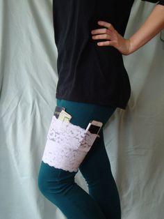 Lace Garter Purse Thigh Purse Holster I.D. by ShootingTulips