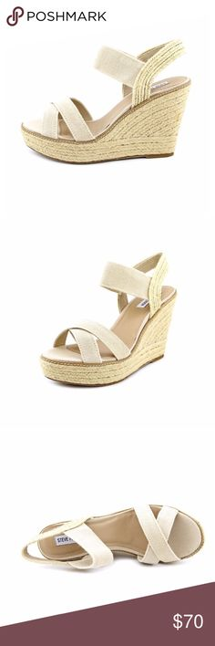 "Steve Madden Eira Open Toe Nude Wedge Sandals Nude. Fabric upper and man-made outsole...lends lasting fractions and wear. 5"" heel. Canvas. Only worn one time! Steve Madden Shoes"