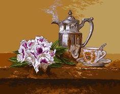 5 O Clock Tea, Cat Cross Stitches, Oclock, Le Point, Tea Pots, Tableware, Printed, Gallery, Cross Stitch Landscape