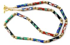 "Chinese Cloisonne Enamel Bead Necklace 21"" Flower Vintage Estate"