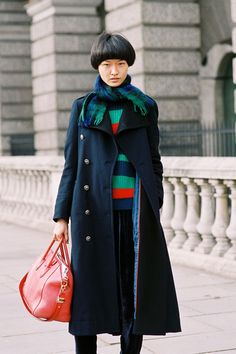 Vanessa Jackman featured Wang wearing the Stripe Fisherman's Pullover in club Stripe. Vanessa Jackman, Fall Lookbook, Autumn Winter Fashion, Autumn Style, Winter Style, Kinds Of Clothes, Chinese Model, American Apparel, Style Guides
