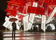 Designed by London architects Asif Khan and Pernilla Ohrstedt, the Coca-Cola Beatbox invites visitors to make a musical collage of sporting sounds by touching parts of its structure.