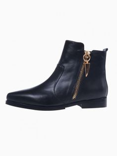 Flat Ankle Boots With Side Zip