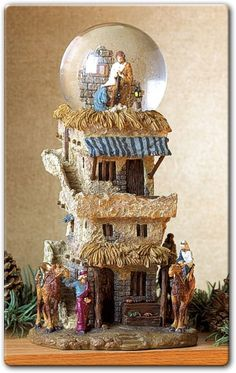 "Deluxe Nativity Snowglobe - from reigninggifts;  made of alabastrite;  6.25"" x 5"" x 11.75"""