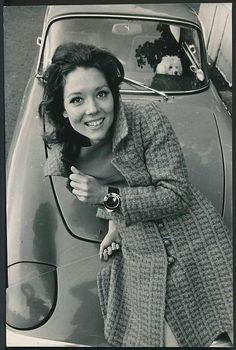 Mrs Emma Peel of 'The Avengers' (Diana Rigg), on the bonnet of her 1967 Lotus Elân Series 3