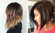 Sick of constantly having to untangle a knot in you long hair? An inverted bob is the answer. Here's 61 best inverted bob hairstyles for Line Bob Haircut, Bob Haircut With Bangs, Lob Haircut, Inverted Bob Hairstyles, Hairstyles Haircuts, Straight Hairstyles, Woman Hairstyles, Balayage Straight Hair, Balayage Hair