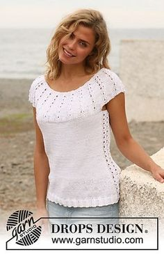 """Ravelry: 128-11 Top with pattern on round yoke in """"Muskat"""" pattern by DROPS design"""