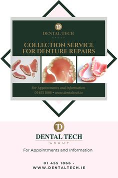 We offer a number of ways to ensure you have your denture repaired safely 1. Drop-in service (by appointment only) in our Dublin clinic for same day repair 2. Isolating and cannot leave the house? a. Post your denture to us and we will repair and post back (Phone or book online) b. We will pick up and deliver back to you for Dublin and surrounding counties  For Appointments and Information 01 455 1866 • www.dentaltech.ie