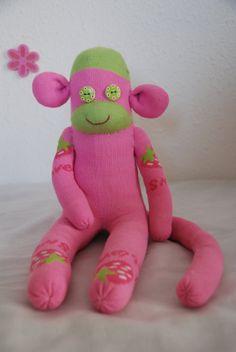 pink sock monkey, stuffed animal - pink with strawberry pattern