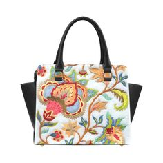 Jacobean Colorful Crewel Floral Embroidery Classic Shoulder Handbag (Model 1653)