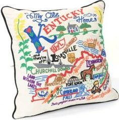 All eyes on Kentucky this week. A perfect time for the Embroidered Kentucky Pillow at Keeneland