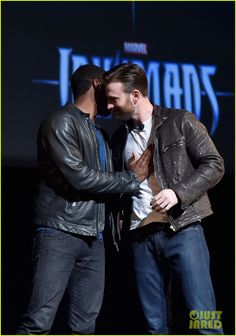 chris evans robert downey jr marvel event 36 Chris Evans and Robert Downey, Jr. sandwich in Marvel's latest addition to the franchise, Chadwick Boseman, who will be playing the Black Panther, in the new film!…
