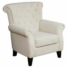 """A cozy addition to your living room seating group or favorite reading nook, this tufted arm chair showcases a rolled back and light beige upholstery.  Product: ChairConstruction Material: Wood and fabricColor: Light beigeFeatures: Diamond-tuftedRolled backDimensions: 37.8"""" H x 35.8"""" W x 36"""" D"""