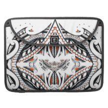 Detailed tribal maori polynesian orange pattern sleeve for MacBook pro
