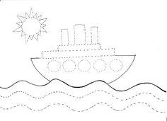 statek grafomotoryka, karty pracy, edukacja, przedszkole, zabawa, moje dzieci kreatywnie, kolorowanki, wakacje, lato, morze.