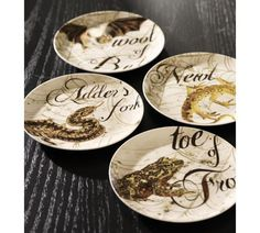Gothic Halloween Spell Salad Plate, Set of 4