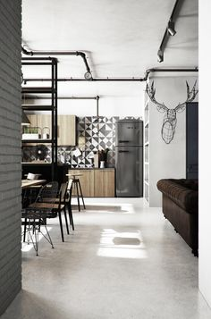 wood cabinets_cement tile wall_[ I N D U S T R I A L ] apartment on Behance