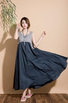 Mixed colors sleeveless loose sleeveless summer dress by dreamyil